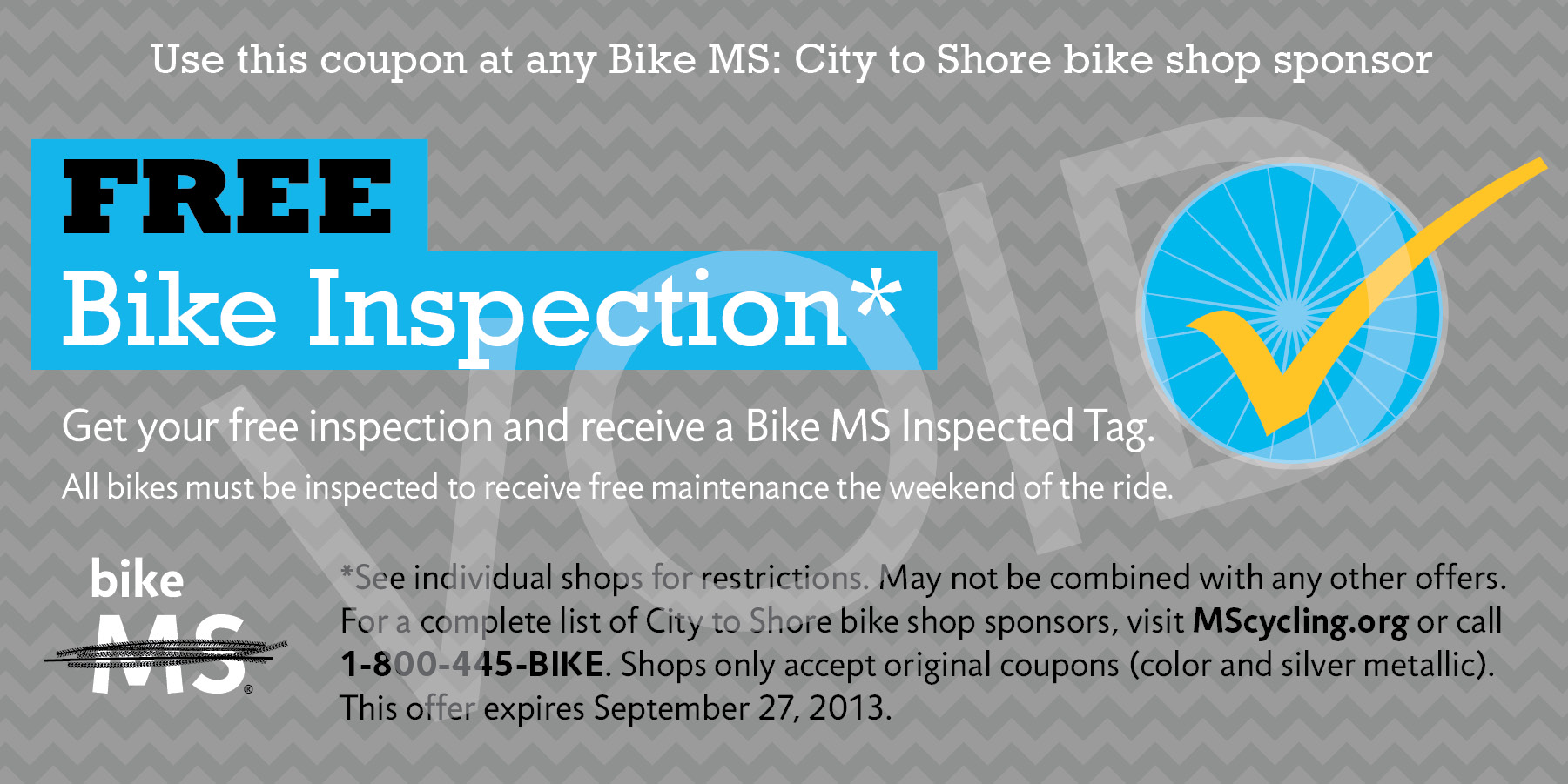 City to Shore Bike Inspection Coupon