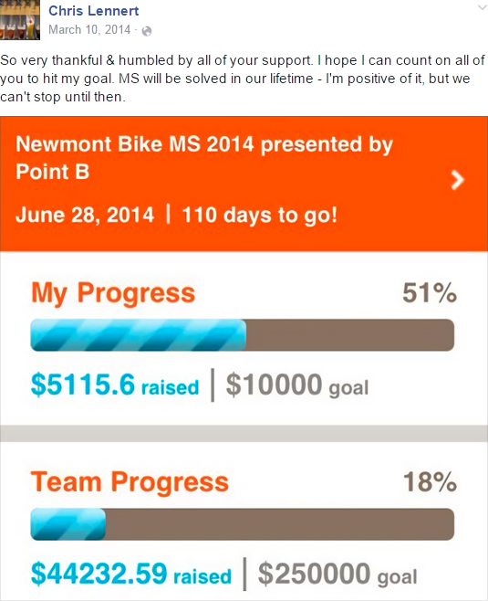 Chris Lennert shares his fundraising progress.