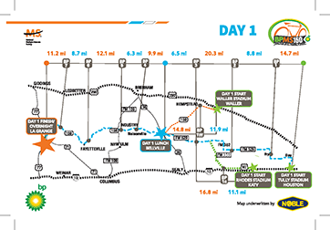 2017 BP MS 150 Route Map – Day 1