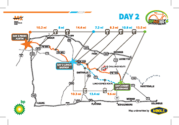 2017 BP MS 150 Route Map – Day 2