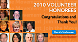 2010 Volunteer Honorees